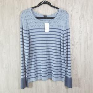 NWT Hannah Ruffle Sleeve Crochet Blue Sweater L